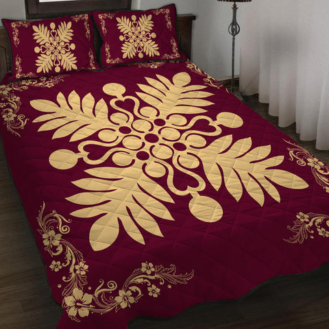 Hawaiian Quilt Maui Plant And Hibiscus Pattern Quilt Bed Set - Beige Burgundy