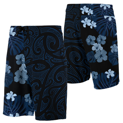Image of Hawaii Hibiscus Flowers Polynesian Board Shorts - Indigo - Haka Style - AH - J2 - Alohawaii