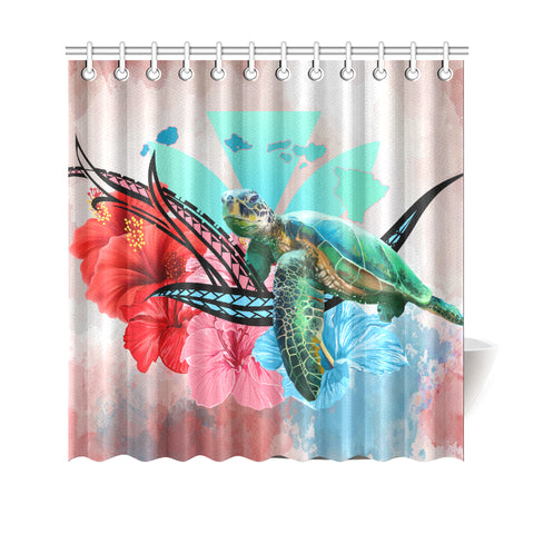Image of Hawaii Map Kanaka Sea Turtle Hibiscus Shower Curtain - AH - Blue Pink - J5 - Alohawaii