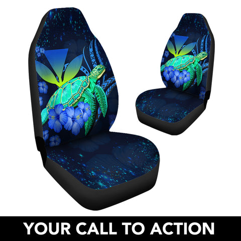 Image of Hawaii Turtle Hibiscus Polynesian Car Seat Cover - Jade Stone