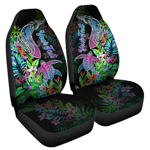(Personalized) Hawaii Shark Turtle Tropical Polynesian Car Seat Covers - Happy Style - AH - J2