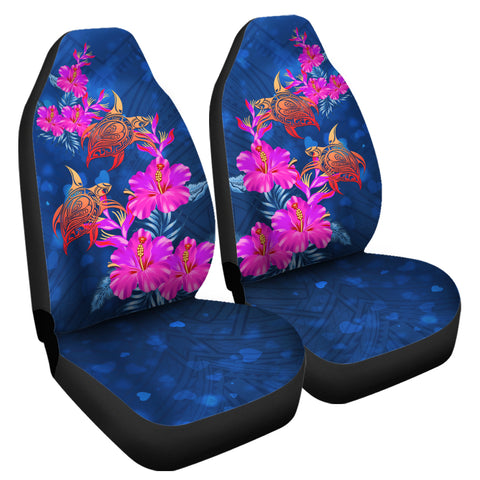 Hawaii Couple Turtle Hibiscus Valentine Car Seat Covers - Light Style - AH - J2