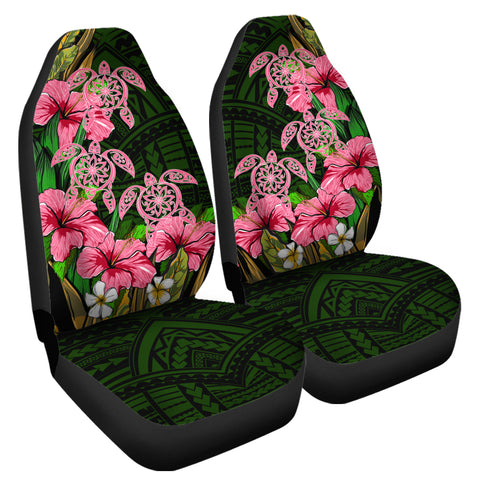 Hawaii Turtle Hibiscus Tropical Polynesian Car Seat Covers - Floren Style - AH - J2