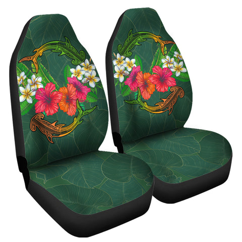 Image of Hawaii Shark Hibiscus Tropical Polynesian Car Seat Covers - Arian Style - AH - J2