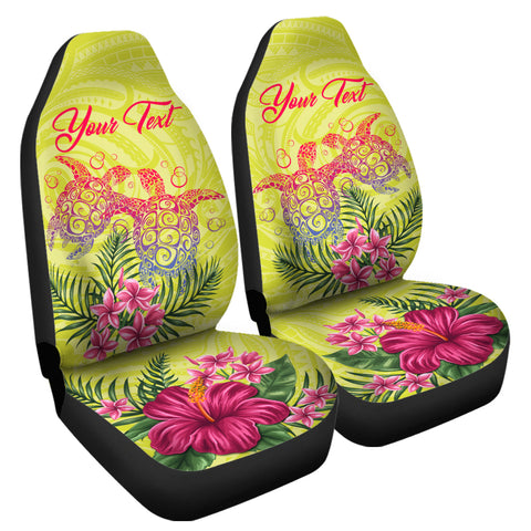 Personalized Hawaii Turtle Hibiscus Flower Polynesian Car Seat Covers - Dulcie Style - AH - J2