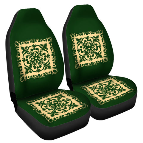 Image of Hawaiian Car Seat Cover Royal Pattern - Emerald Green - AH - J6 - Alohawaii