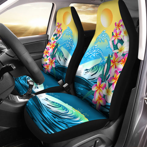 Hawaii Dolphin Plumeria Surfing Polynesian Car Seat Covers - Muriel Style - AH - J2