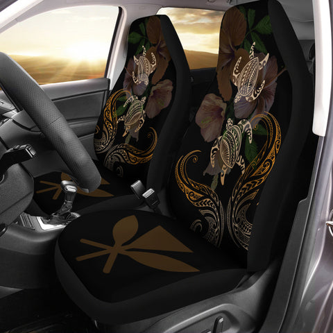 Image of Hawaii Couple Turtle Kanaka Hibiscus Valentine Car Seat Covers - Eras Style - AH - J2