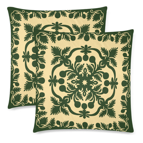 Hawaiian Pillow Covers Royal Pattern - Emerald Green