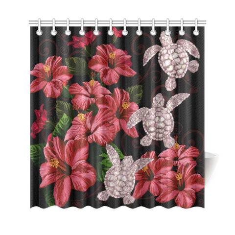 Image of Hawaii Red Hibiscus Turtle Shower Curtain - AH - Ray Style - J5 - Alohawaii