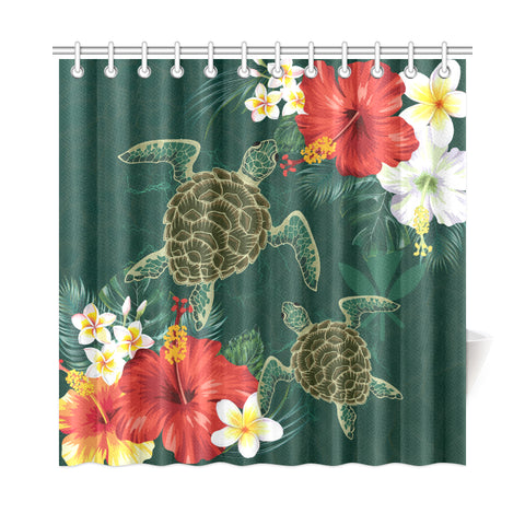 Hawaii Sea Turtle Hibiscus Plumeria Shower Curtain - AH - J4 - Alohawaii