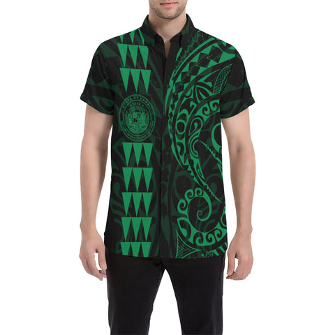 Image of Hawaii Coat Of Arms Short Sleeve Shirt Green - AH J4 - Alohawaii