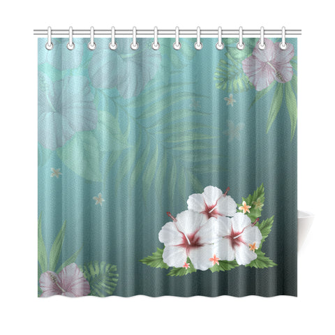 White Hibiscus Shower Curtain - AH - J4 - Alohawaii
