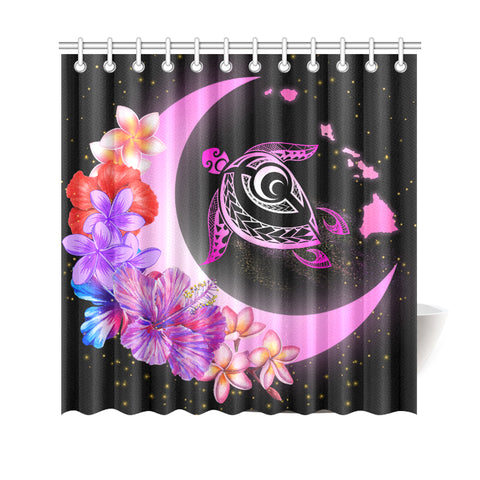 Hawaii Map Moon Star Turtle Plumeria Hibiscus Shower Curtain