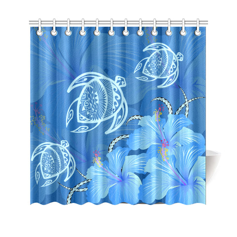 Hawaii Blue Hibiscus Turtle Polynesian Shower Curtain