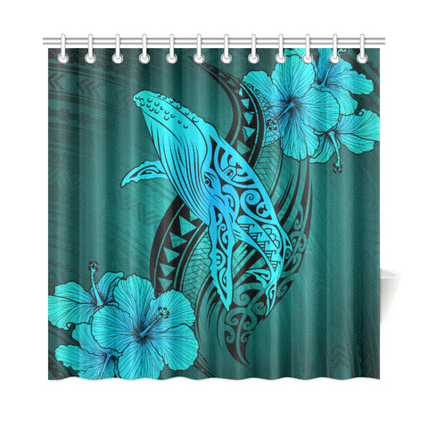 Hawaii Whale Swim Poly Shower Curtain - Turquoise - AH J9 - Alohawaii