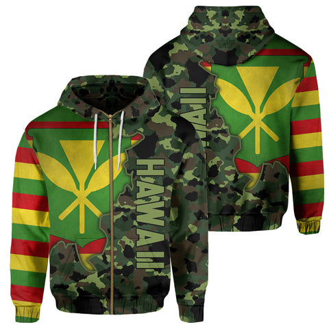 Image of Kanaka Flag Camo Pattern Zipper Hoodie - Chad Style