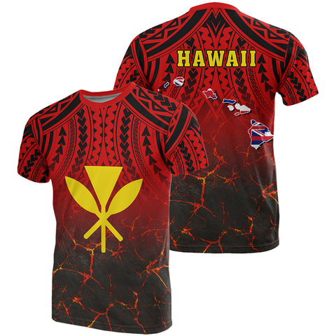 Hawaii Kanaka Map T-Shirt - Polynesian Hawaiian Eruption Style - AH -J6 - Alohawaii