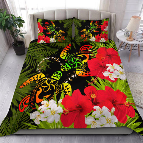 Hawaii Couple Turtle Hibiscus Tropical Valentine Bedding Set - Levi Style - AH - J2