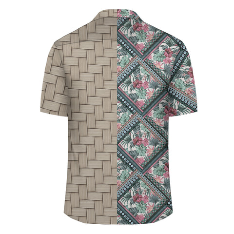 Image of Hawaii Exotic Tropical Flowers In Pastel Colors Lauhala Moiety Hawaiian Shirt - AH - JR - Alohawaii