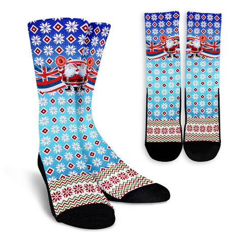Hawaii Flag Santa Claus Pattern Christmas Crew Socks - Noel Style - AH - J3
