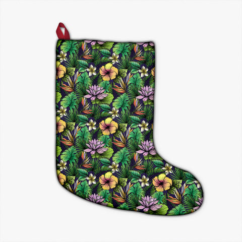 Hawaii Hibiscus And Plumeria Green Christmas Stocking - AH - J4 - Alohawaii