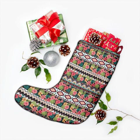 Hawaii Hibiscus Ethnic Mix Tropical Flower Christmas Stocking - AH - J4