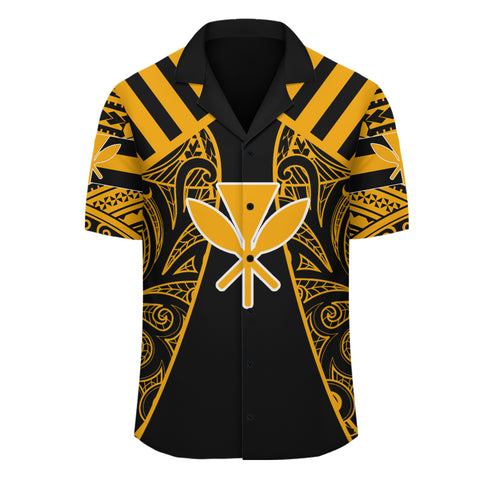 Hawaii Kanaka Football Jersey Hawaiian Shirt - Black & Yellow - Victor Style - AH - J3