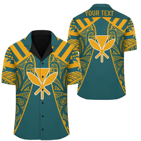 Hawaii Kanaka Football Jersey Hawaiian Shirt - Cyan & Yellow - Victor Style - AH - J3