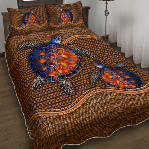 Hawaii Love Turtles Pattern Polynesian Quilt Bed Set - AH - J2