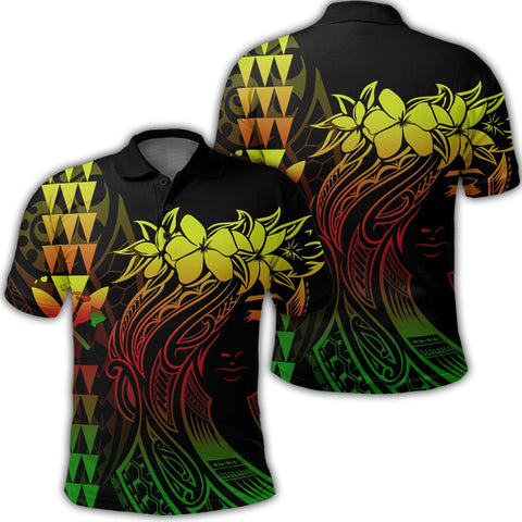 Hawaii Map Kanaka Polynesian Hula Girl Polo Shirt Reggae - AH -J5R