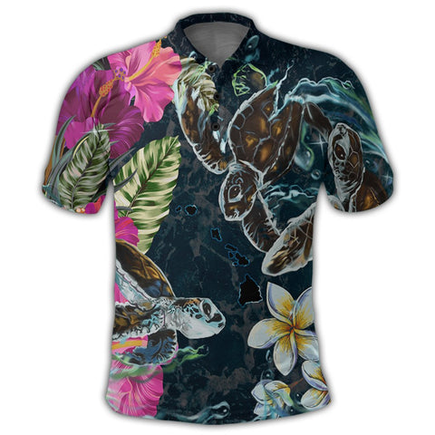 Image of Hawaii Map Turtle Swimming Hibiscus Plumeria Moana Polo Shirt - AH - J5R | Alohawaii Store | Hawaiian Polo Shirt Hawaiian Polo Shirt - Hawaii Polo Shirt For Men - Hawaii Polo Shirt For Women - Hawaii Polo Shirt For Kane - Hawaii Polo Shirt For Wahine