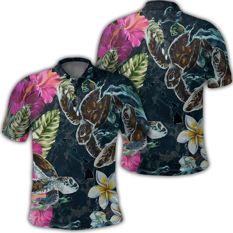 Image of Hawaii Map Turtle Swimming Hibiscus Plumeria Moana Polo Shirt - AH - J5R