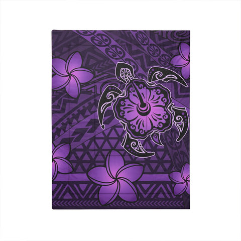 Hawaii Mix Polynesian Turtle Plumeria Comforter - AH - Nick Style - Purple - J5C