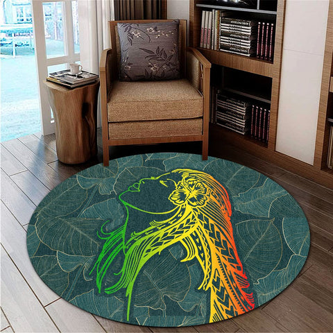 Hawaii Monstera Kalo Hula Girl Kanaka Maoli Round Carpet - AH - J4R | Alohawaii Store | Home Set Home Decor | Accessories for your home | Hawaiian Round Carpet | Polynesian design for you