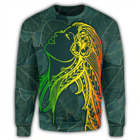 Hawaii Monstera Kalo Hula Girl Kanaka Maoli Sweatshirt - AH - J4R | AH | Hawaiian Sweatshirt For Unisex - Hawaiian Sweatshirt For Male - Hawaiian Sweatshirt For Female