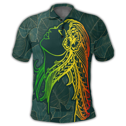 Hawaii Monstera Kalo Hula Girl Kanaka Maoli Polo Shirt - AH - J4R | Alohawaii Store | Hawaiian Polo Shirt Hawaiian Polo Shirt - Hawaii Polo Shirt For Men - Hawaii Polo Shirt For Women - Hawaii Polo Shirt For Kane - Hawaii Polo Shirt For Wahine