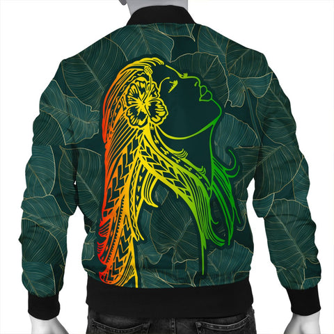 Hawaii Monstera Kalo Hula Girl Kanaka Maoli Bomber Jacket - AH - J4R | Alohawaii Store | Hawaii Bomber Jacket - Hawaiian Bomber Jacket | Hawaii Clothing | Bomber Jacket for Hawaiian
