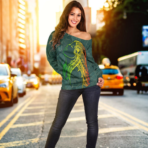 Hawaii Monstera Kalo Hula Girl Kanaka Maoli Women's Off Shoulder Sweater - AH - J4R | Do shopping now on Alohawaii Store | Hawaii Apparel | Hawaiian Clothing | Hawaiian Off Shoulder Sweater for Women | Hawaiian Trending