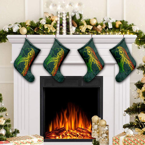 Hawaii Monstera Kalo Hula Girl Kanaka Maoli Christmas Stocking - AH - J4R