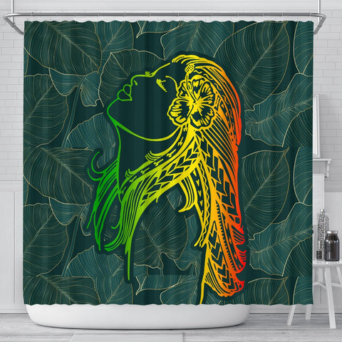 Hawaii Monstera Kalo Hula Girl Kanaka Maoli Shower Curtain - AH - J4C