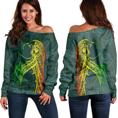 Hawaii Monstera Kalo Hula Girl Kanaka Maoli Women's Off Shoulder Sweater - AH - J4R