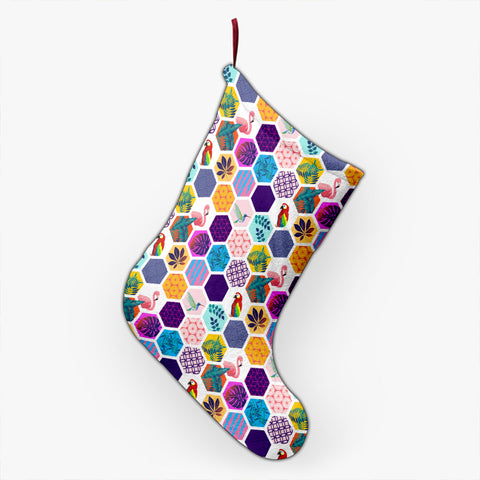 Hawaii Parrot Toucans Hummingbird Flamingo tropical Leaves Christmas Stocking - AH - J4