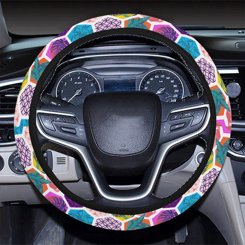 Hawaii Parrot Toucans Hummingbird Flamingo tropical Leaves Hawaii Universal Steering Wheel Cover with Elastic Edge - AH - J6 - Alohawaii