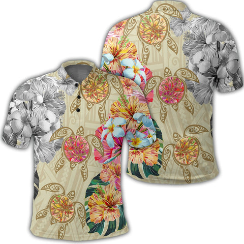 Image of Hawaii Polynesian Flowers Swimming Turtles Polo Shirt - AH - J5R