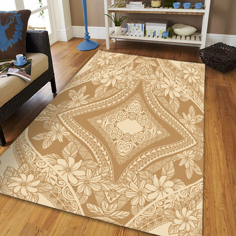 Hawaii Polynesian Plumeria Mix Gold Area Rug