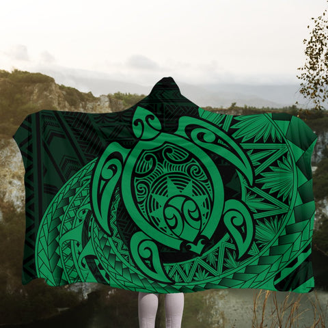 Hawaii Polynesian Turtle Hooded Blanket - Green - AH - J4R | Hawaii Hooded Blanket - Hawaiian Hooded Blanket - Hooded Blanket For You