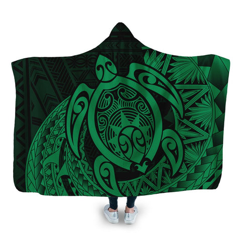 Hawaii Polynesian Turtle Hooded Blanket - Green - AH - J4R