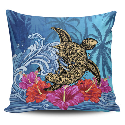 Hawaii Sea Turtle Hibiscus Coconut Tree Pillow Cover - AH - J4 - Alohawaii