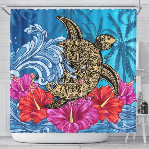 Hawaii Sea Turtle Hibiscus Coconut Tree Shower Curtain - AH - J4 - Alohawaii
